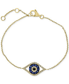 EFFY® Sapphire (1/3 ct. t.w.) & Diamond (1/6 ct. t.w.) Evil Eye Chain Bracelet in 14k Gold
