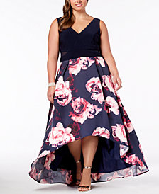 Xscape Plus Size Solid & Floral-Print High-Low Gown