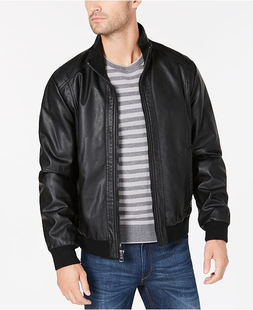 b36bc6734 Calvin Klein Men's Faux Leather Bomber Jacket & Reviews - Coats ...