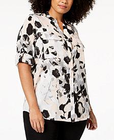 Calvin Klein Plus Size Printed Utility Shirt