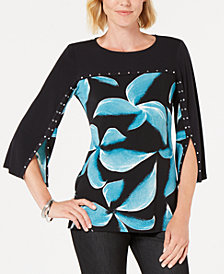 JM Collection Printed Split-Sleeve Embellished Tunic, Created for Macy's