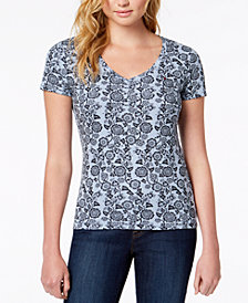 Tommy Hilfiger Cotton Stencilled V-Neck T-Shirt, Created for Macy's