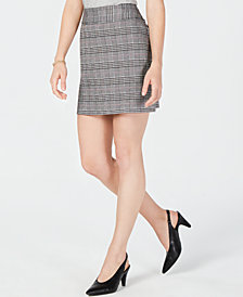 Maison Jules Menswear Plaid Mini Skirt, Created for Macy's