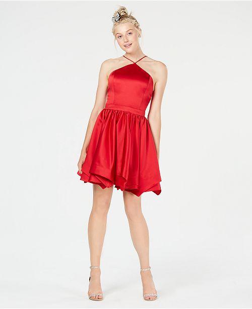Blondie Nites Juniors' Halter Fit & Flare Dress