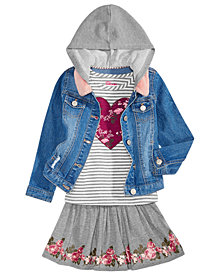 Epic Threads Little Girls Denim Jacket, T-Shirt & Scooter Skirt, Created for Macy's