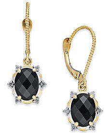 Onyx (8 x 6mm) & Diamond (1/10 ct. t.w.) Oval Drop Earrings in 14k Gold