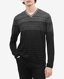 Calvin Klein Men's Gradient Colorblocked Stripe V-Neck Sweater