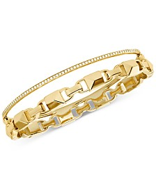 Michael Kors Women's Mercer Link Double Row Sterling Silver Bracelet