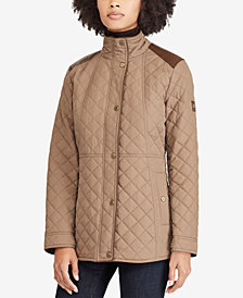 Lauren Ralph Lauren Petite Faux Leather-Trim Quilted Coat
