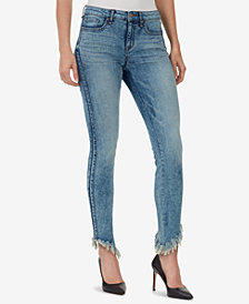 WILLIAM RAST Perfect Skinny Frayed Asymmetrical Jeans