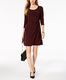 Alfani Ruched Faux-Wrap Dress, Created for Macy's