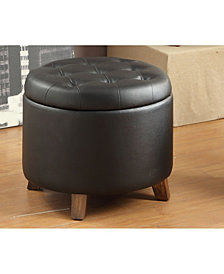 Faux Leather Round Ottoman -Black