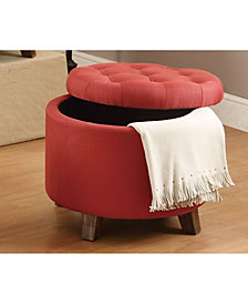 Fabric Round Ottoman, Carmine Red