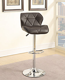 Diamond-Stitch Faux Leather Bar Stools, Black, Set of 2