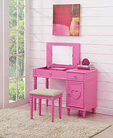 Kids' Vanity Set with Stool, Pink