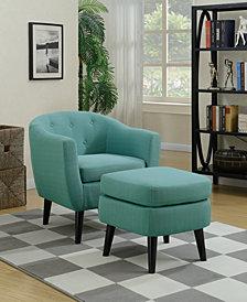 Chair+Cocktail Ottoman, Light Blue