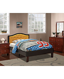 Twin Bed with Citrus Faux Leather Frame