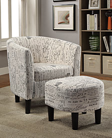 Accent Chair + Ottoman, Beige/Black