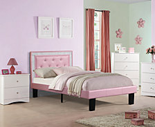 Twin Bed with Pink Faux Leather Frame