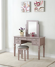 Vanity Set with Stool, Red