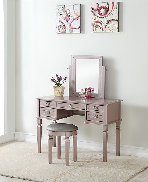 Poundex Vanity Set With Stool Amp Reviews Home Macy S