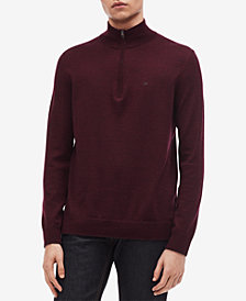Calvin Klein Men's Quarter-Zip Merino Wool Sweater