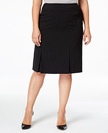 Kasper Plus Size Pinstriped Skirt