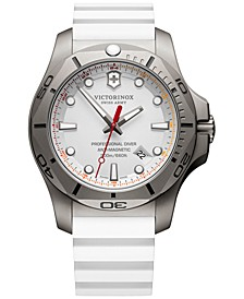 Men's Swiss I.N.O.X Professional Diver White Rubber Strap Watch 45mm