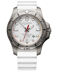 Victorinox Swiss Army Men's Swiss I.N.O.X Professional Diver White Rubber Strap Watch 45mm