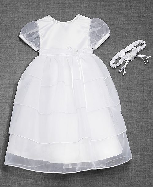 3dd1faf0b Lauren Madison Baby Girls Christening Dress & Headband & Reviews ...