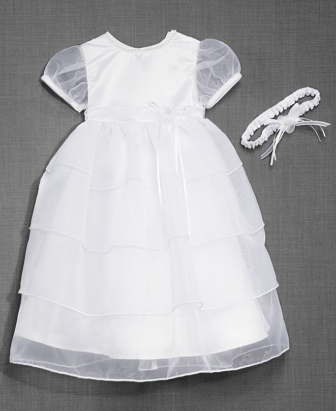 Lauren Madison Baby Girls Christening Dress & Headband