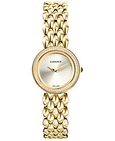 Versace Women's Swiss V-Flare Diamond (1/3 ct. t.w.) Gold-Tone Stainless Steel Bracelet Watch 28mm