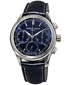 Men's Swiss Automatic Chronograph Manufacture Flyback Blue Alligator Leather Strap Watch 42mm