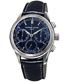 Frederique Constant Men's Swiss Automatic Chronograph Manufacture Flyback Blue Alligator Leather Strap Watch 42mm