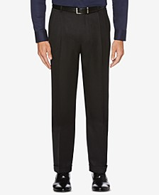 Men's Classic/Regular Fit Elastic Waist Double Pleated Cuffed Dress Pants