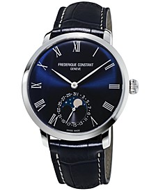 Men's Swiss Automatic Slimline Manufacture Blue Alligator Leather Strap Watch 42mm