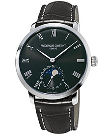 Frederique Constant Men's Swiss Automatic Slimline Manufacture Gray Alligator Leather Strap Watch 42mm