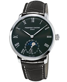 Frederique Constant Men's Swiss Automatic Slimline Manufacture Gray Alligator Leather Strap Watch 42mm