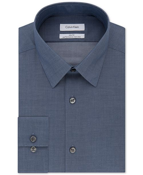 Calvin Klein Non-Iron Slim-Fit Herringbone Solid Performance Dress Shirt