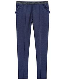 Epic Threads Big Girls Ruffle-Trim Pintuck Ponté Knit Pants, Created for Macy's
