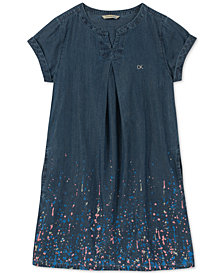 Calvin Klein Big Girls Glitter Splatter Cotton Dress