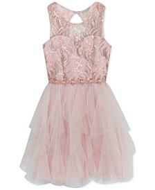 Rare Editions Big Girls Sequin Cascading Ruffle Dress
