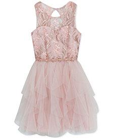Rare Editions Big Girls Sequin Cascading Ruffle Dress