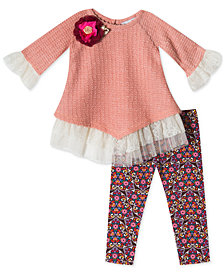 Rare Editions Baby Girls 2-Pc. Sweater & Leggings Set