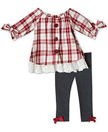 Rare Editions Baby Girls 2-Pc. Plaid Tunic & Leggings Set