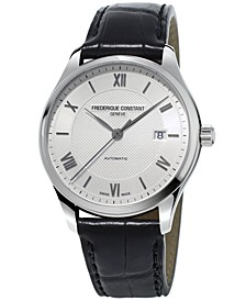 Men's Swiss Automatic Classics Index Black Leather Strap Watch 40mm