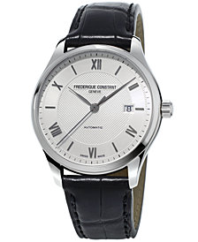 Frederique Constant Men's Swiss Automatic Classics Index Black Leather Strap Watch 40mm