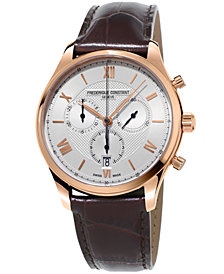 Frederique Constant Men's Swiss Chronograph Classics Brown Leather Strap Watch 40mm