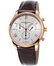Frederique Constant Men's Swiss Chronograph Classics Brown Leather Strap Watch 40mm