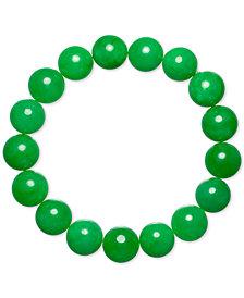 Dyed Green Jade (12mm) Beaded Stretch Bracelet